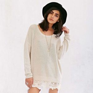 Urban Outfitters Oversized Sweater with Lace Trim